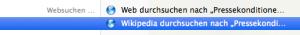 Spotlight durchsucht Google und Wikipedia.