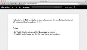 oTranscribe hat eine sehr einfache Oberfläche, die das Abtippen von Interviews erleichtert. (Screenshot)