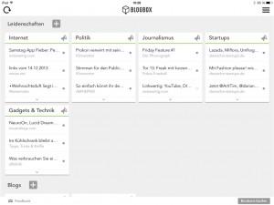 Blogbox präsentiert alle Beiträge nach Kategorien sortiert (Foto: Screenshot)