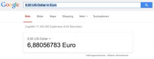 Google als Währungsumrechner (Foto: Screenshot)