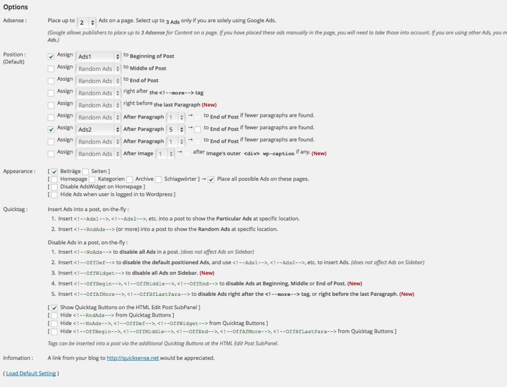 Konfiguration in Quick Adsense (Foto: Screenshot)