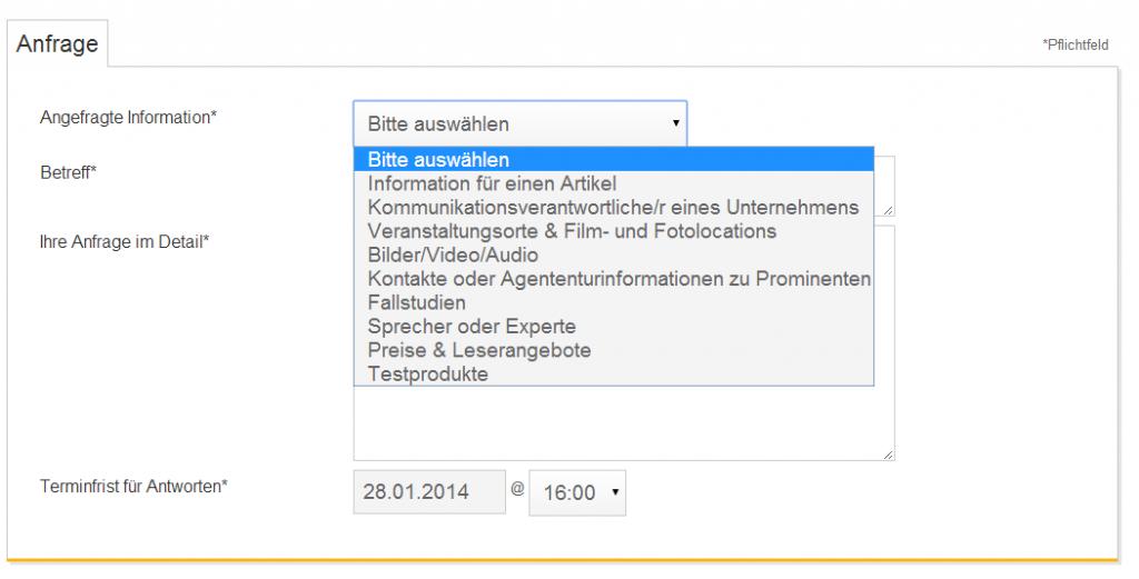 Anfragen auf ResponseSource können direkt eingestellt werden – ein Account ist nicht notwendig (Foto: Anbieter)
