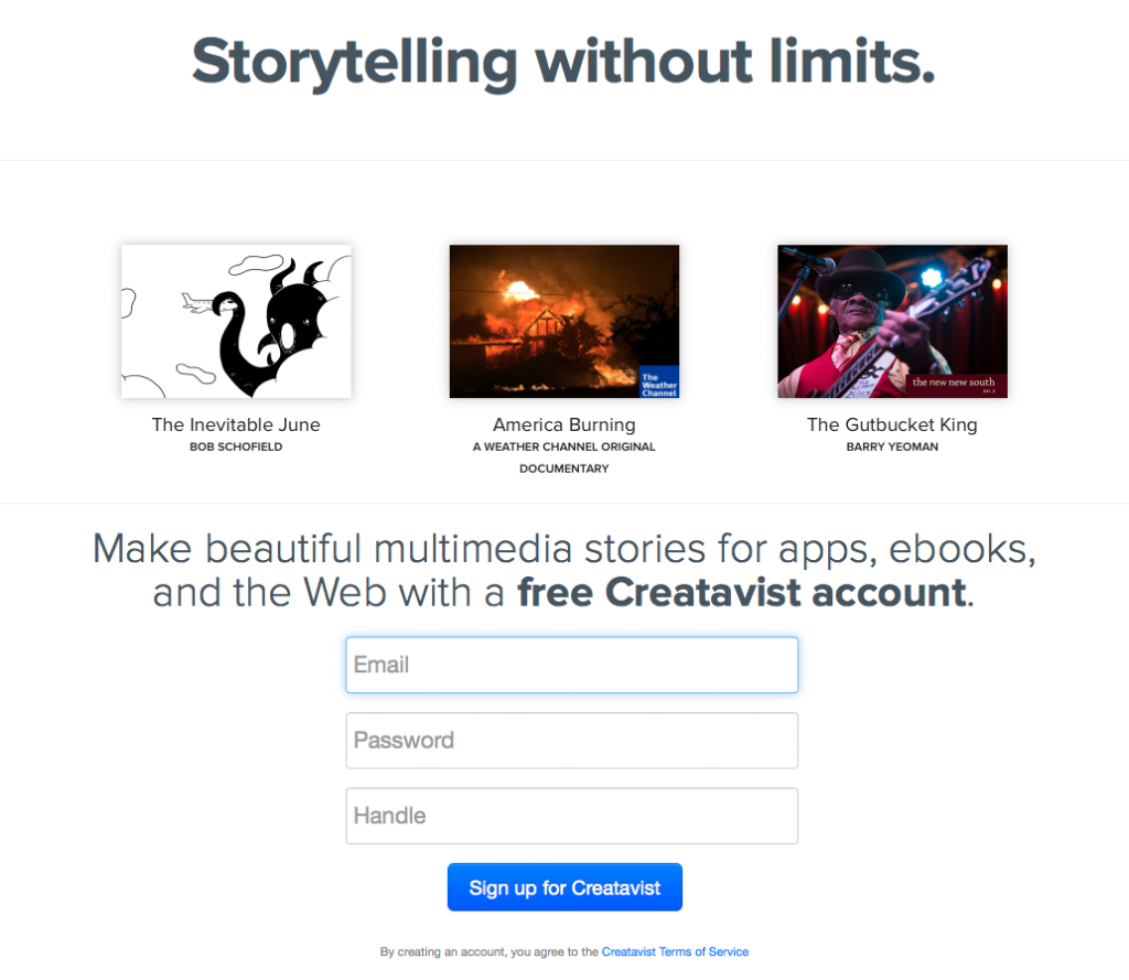 Creativst.com verspricht Story Telling ohne Limits