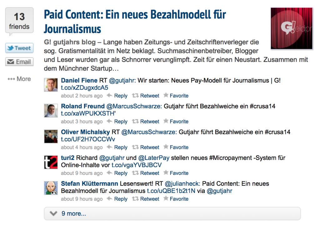 Nuzzel.com zeigt zu jedem Beitrag eine Vorschau und die Tweets meiner Freunde an. (Foto: Screenshot)