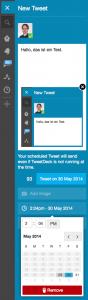 Mit der neuen Tweetdeck-Version lassen sich Tweets mit Foto vorprogrammieren (Foto: Screenshot)