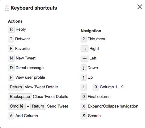 Tastatur-Kürzel für Tweetdeck (Foto: Screenshot)