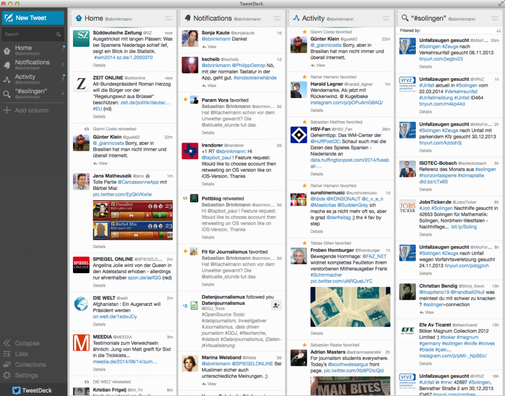 Die Tweetdeck-Oberfläche: Alle Tweets werden in Spalten angezeigt (Foto: Screenshot)