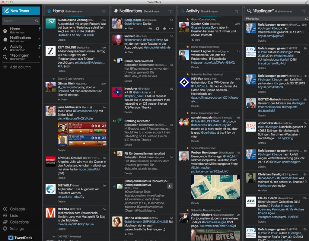 Dunkle Ansicht der Tweetdeck-Oberfläche (Foto: Screenshot)