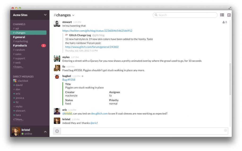 Übersichtlich: Links die Chat-Gruppen, rechts die Nachrichten. (Foto: Slack.com)