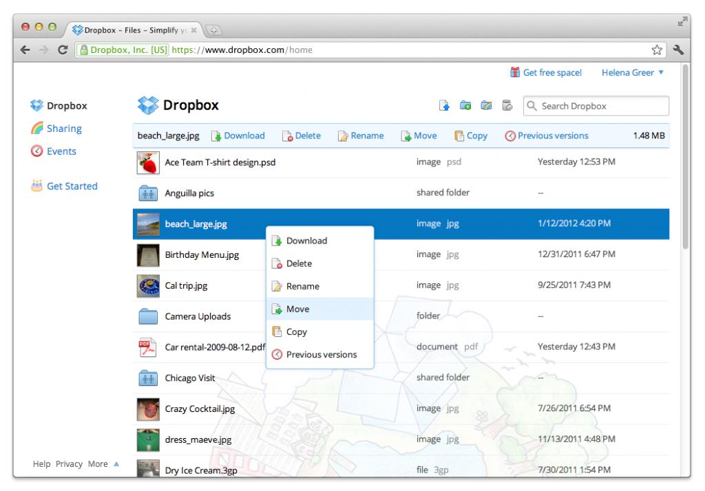 Dropbox bietet eine einfache Weboberfläche an (Foto: Dropbox.com)
