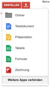 Google Docs unterstützt Textdokumente, Präsentationen, Tabellen, Formulare und Zeichnungen (Foto: Screenshot)