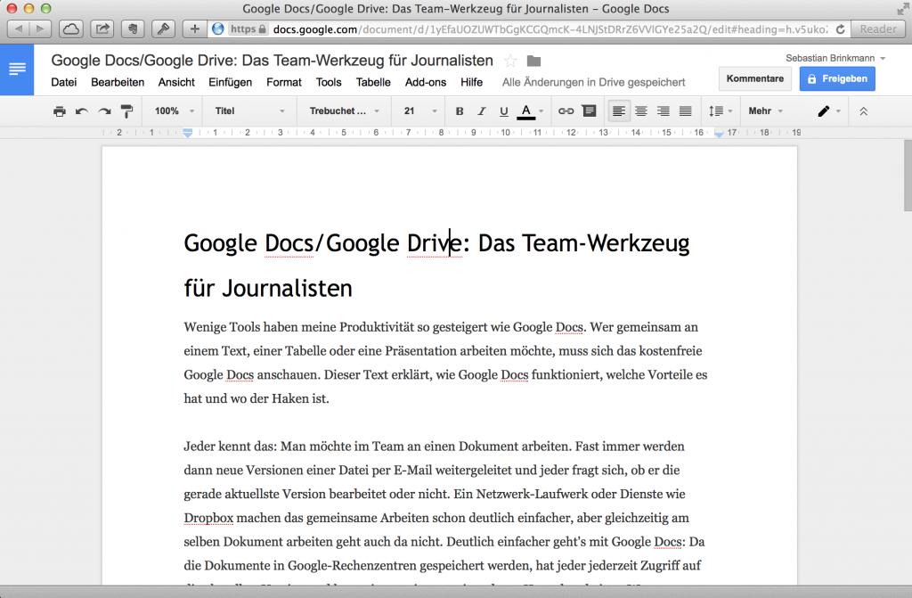 Google Docs: Die Textverarbeitung im Browser (Foto: Screenshot)