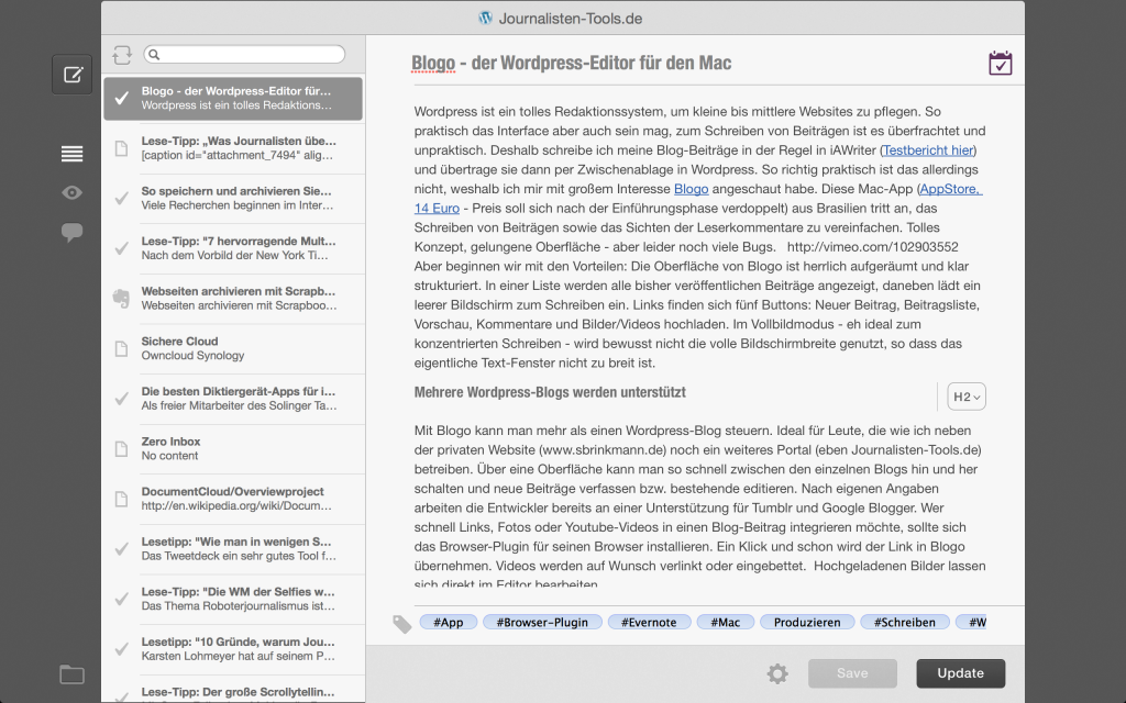 Blogo bietet einen aufgeräumten Vollbildmodus an (Foto: Screenshot)