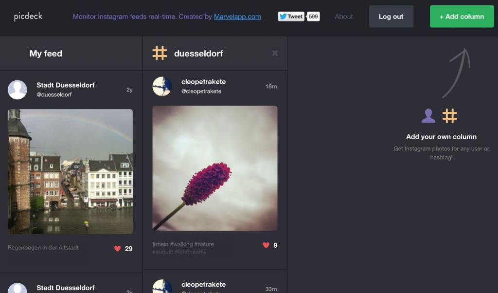 Das Design von Picdeck ist eindeutig von Tweetdeck inspiriert. (Foto: Screenshot)