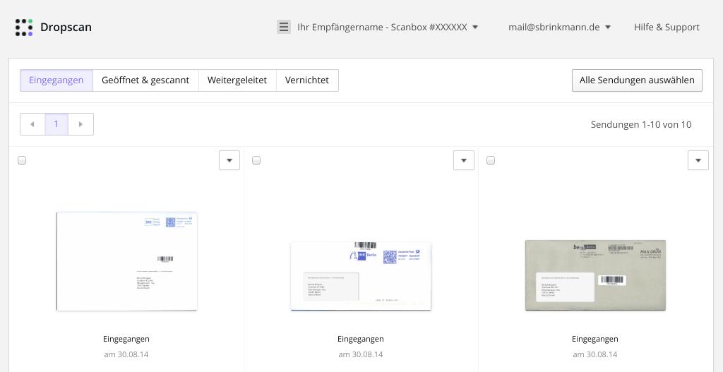 Web-Oberfläche von Dropscan (Foto: Screenshot)