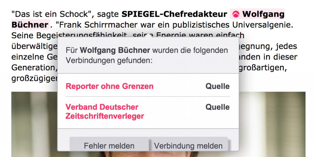 Laut Cahoots steht Wolfgang Büchner in Verbindung mit Reporter ohne Grenzen (dort sitzt er im Kuratorium) und dem Verband Deutscher Zeitschriftenverleger (dort ist er Sprecher der Arbeitsgruppe Premium Publishing) Foto: Screenshot Spiegel.de