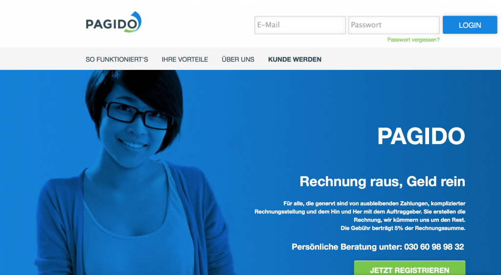 Homepage von Pagido.de (Foto: Screenshot)