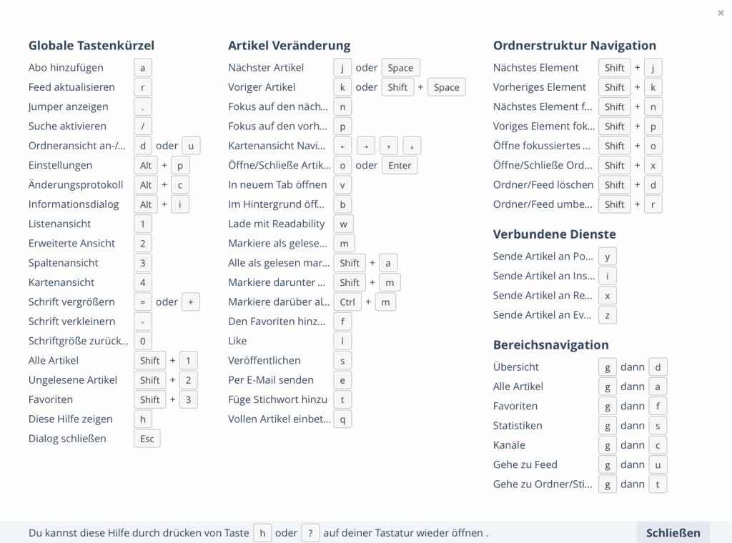 Inoreader lässt sich auch mit der Tastatur steuern (Foto: Screenshot)