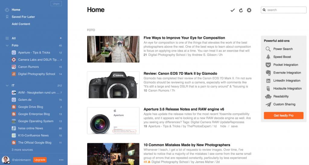 Zum Vergleich: Die Startseite von Feedly.com (Foto: Screenshot)