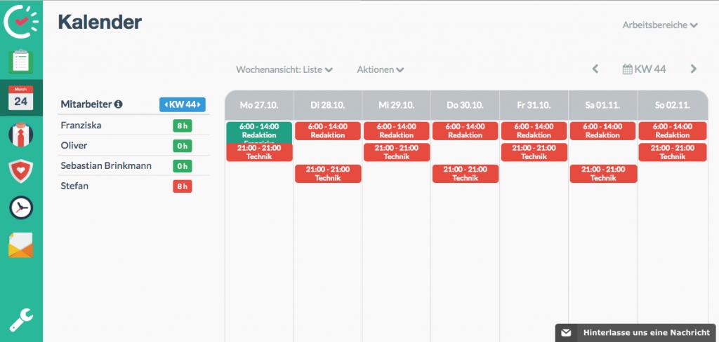 Einfache Kalender-Übersicht in Papershift (Foto: Screenshot)