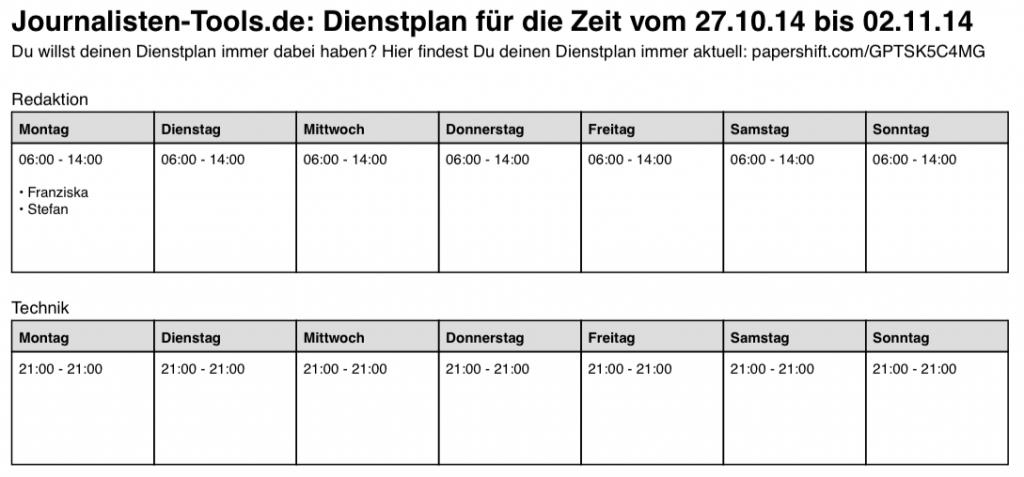 PDF-Version des fertigen Dienstplans (Foto: Screenshot)
