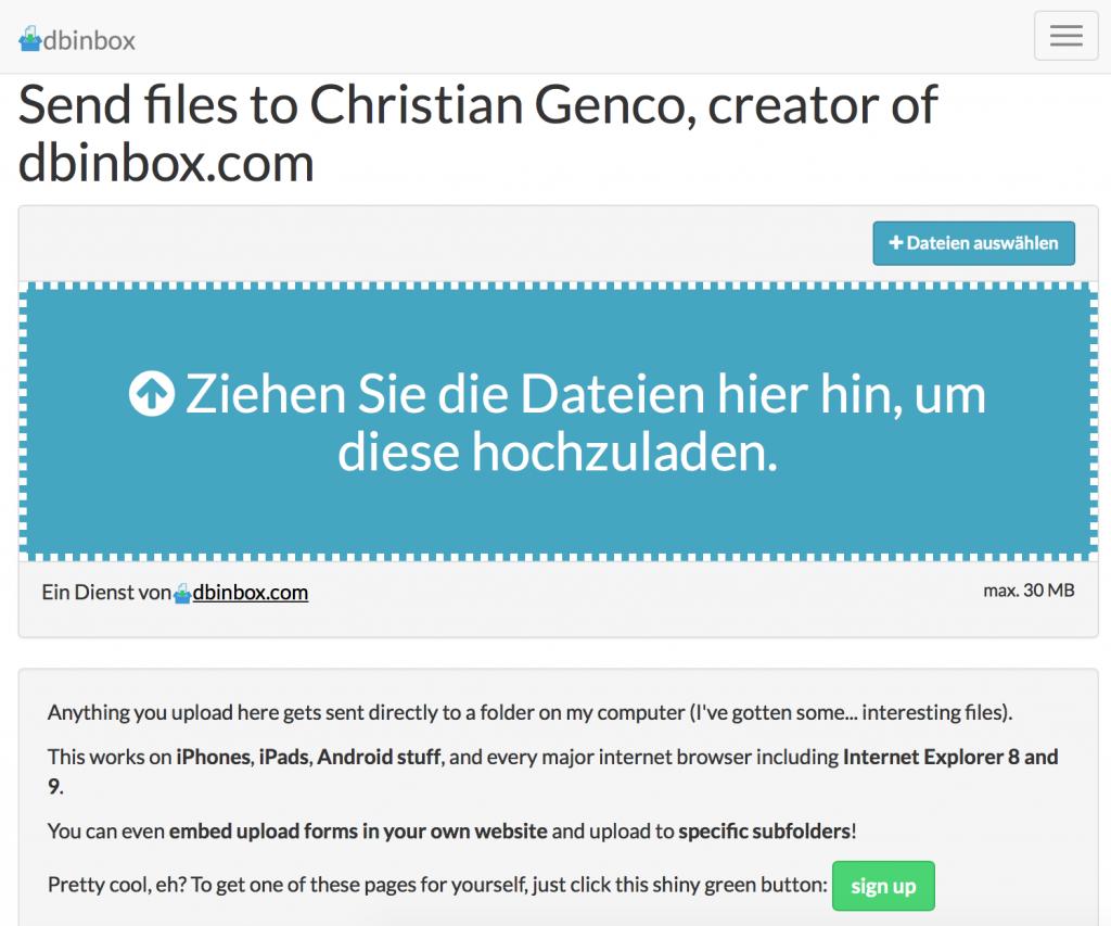 Upload-Seite von DBinbox (Foto: Screenshot)