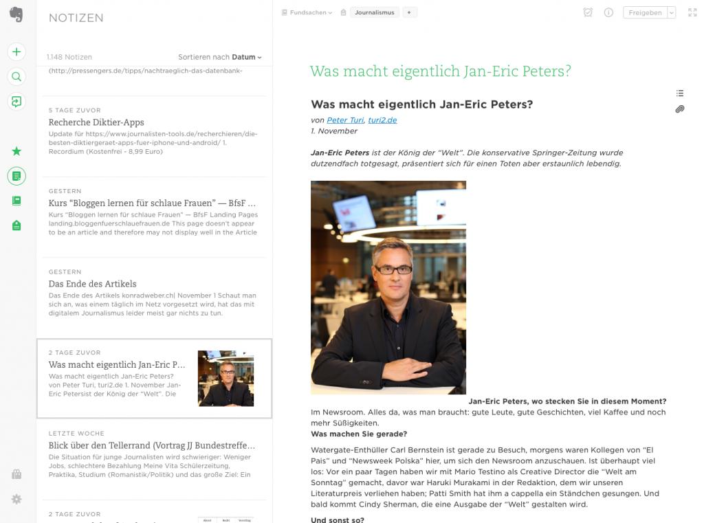 Die neue Evernote-Web-Oberfläche ist deutlich aufgeräumter als der Windows- oder Mac-Client (Foto: Screenshot)