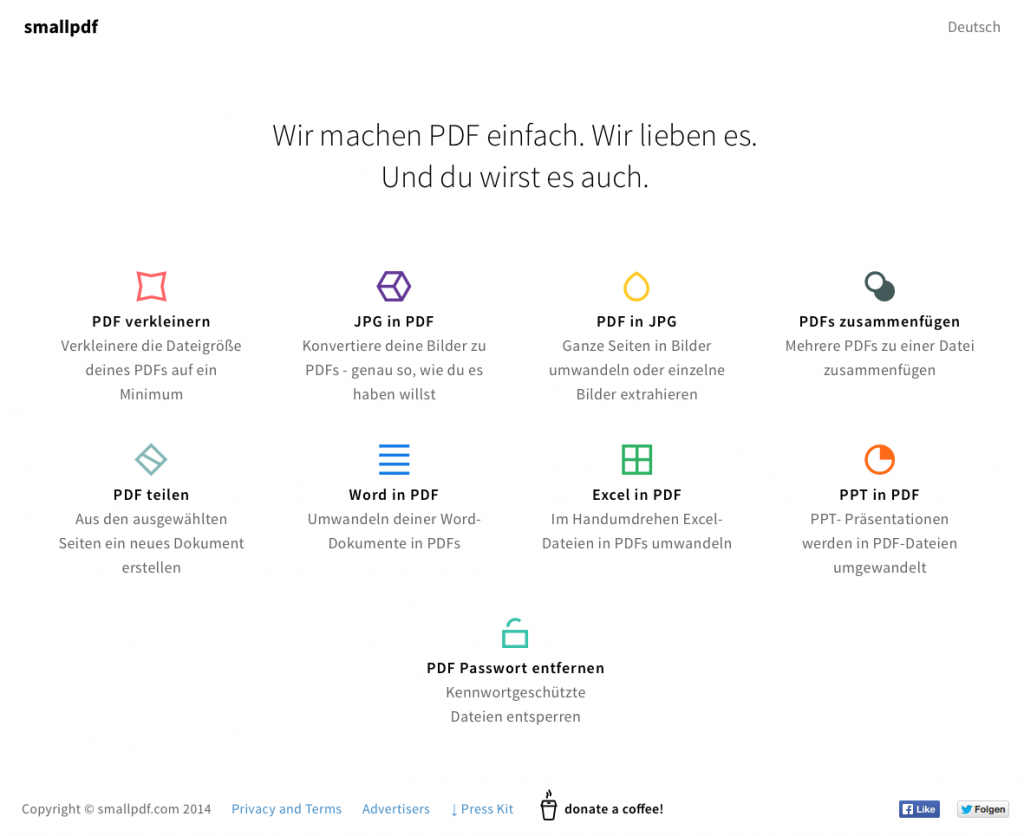 Startseite von smallpdf.com (Foto: Screenshot)