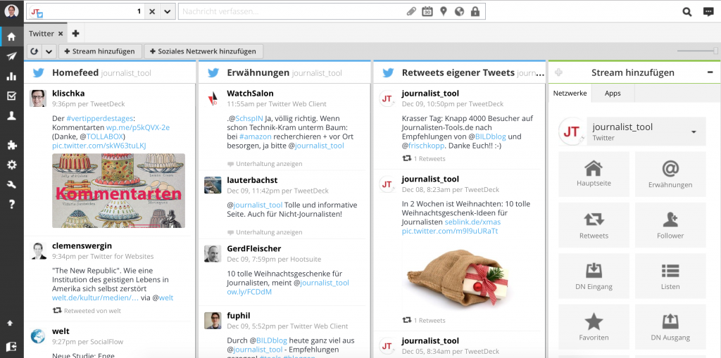 Hootsuite mit dem Twitter-Account von Journalisten-Tools.de (Foto: Screenshot)