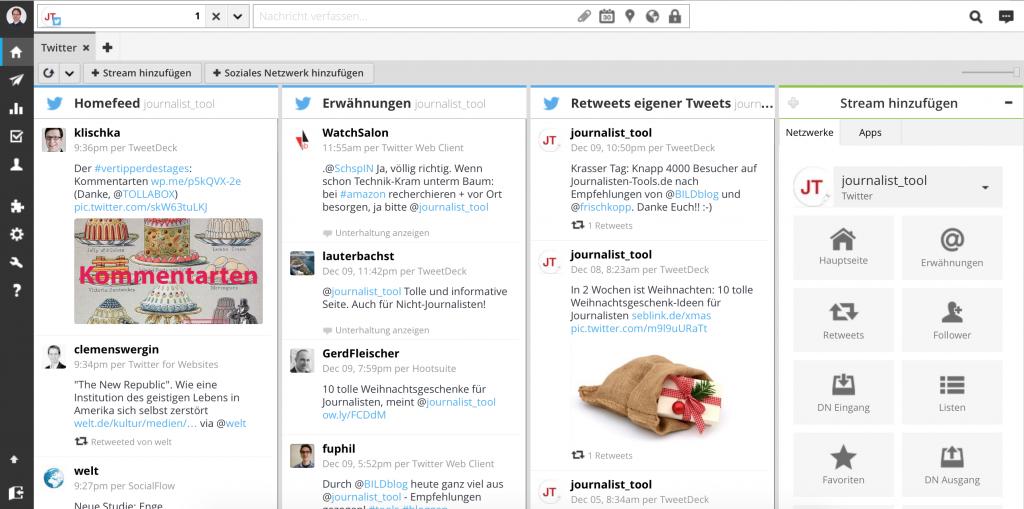 Hootsuite mit dem Twitter-Account von Journalisten-Tools.de (Foto: Screenshot)