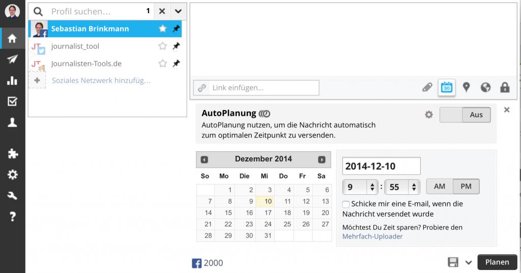 Mit Hootsuite kann man Beiträge programmieren (Foto: Screenshot)