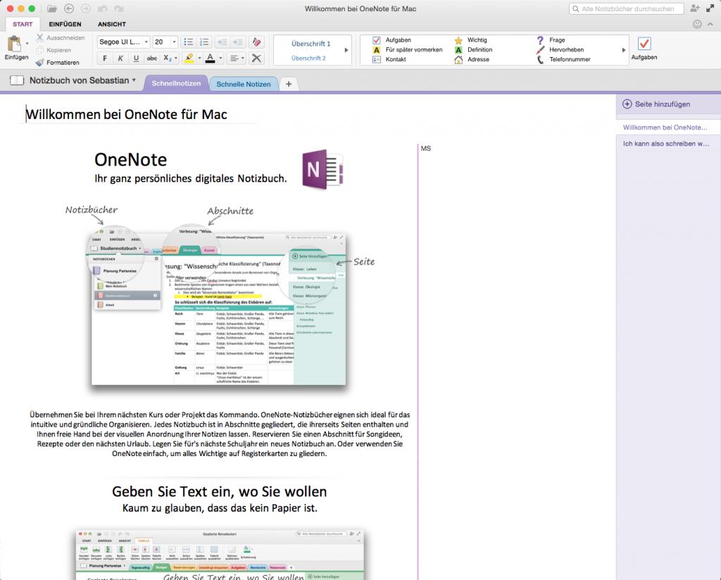 Microsoft OneNote (hier die Mac-Version) macht einen ausgereiften Eindruck (Foto: Screenshot)