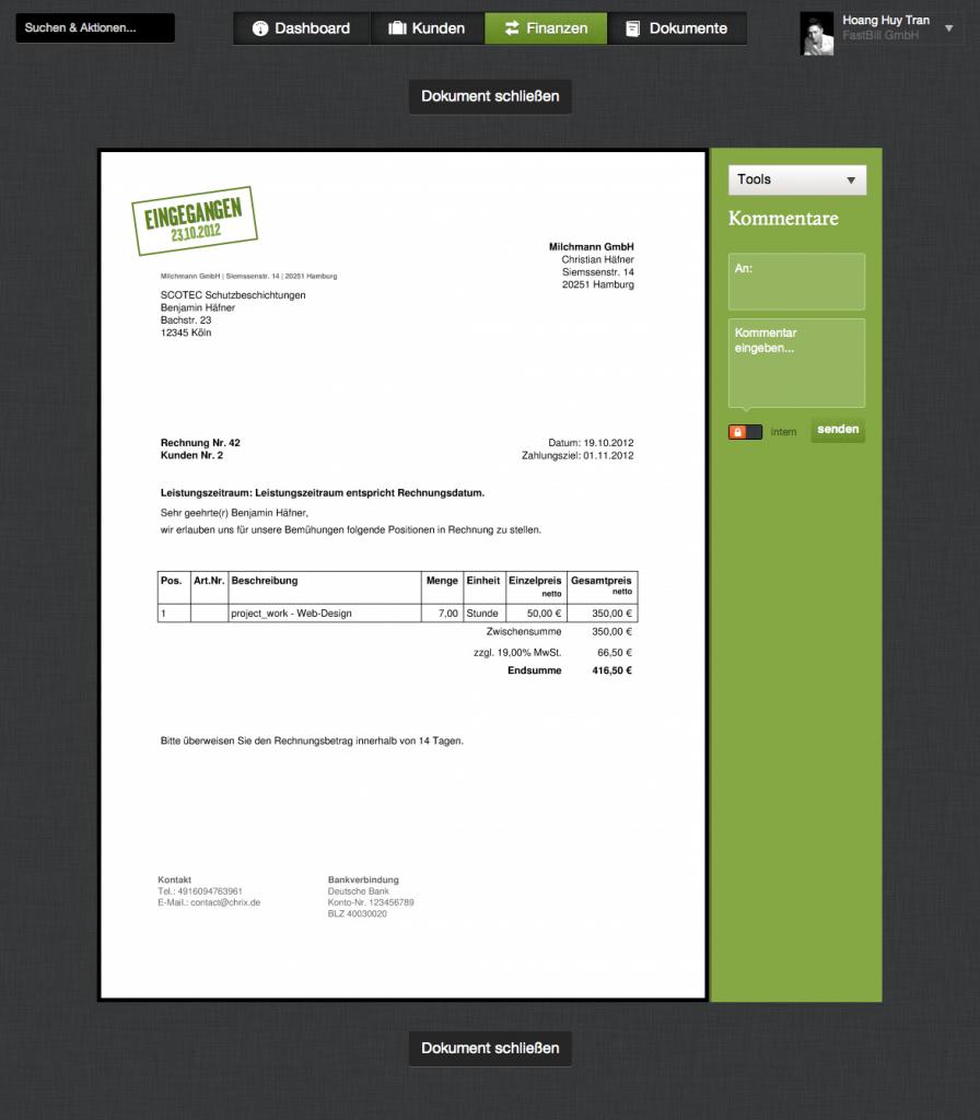 Fastbill erstellt auf Knopfdruck die fertige Rechnung (Foto: Fastbill)