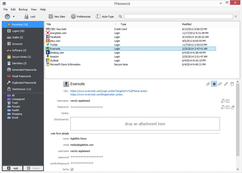 1Password in der Windows-Version (Screenshot: Agilebits.com)