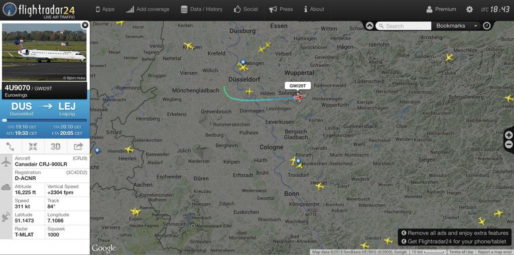Der Luftraum über NRW (Quelle: Flightradar24.com)