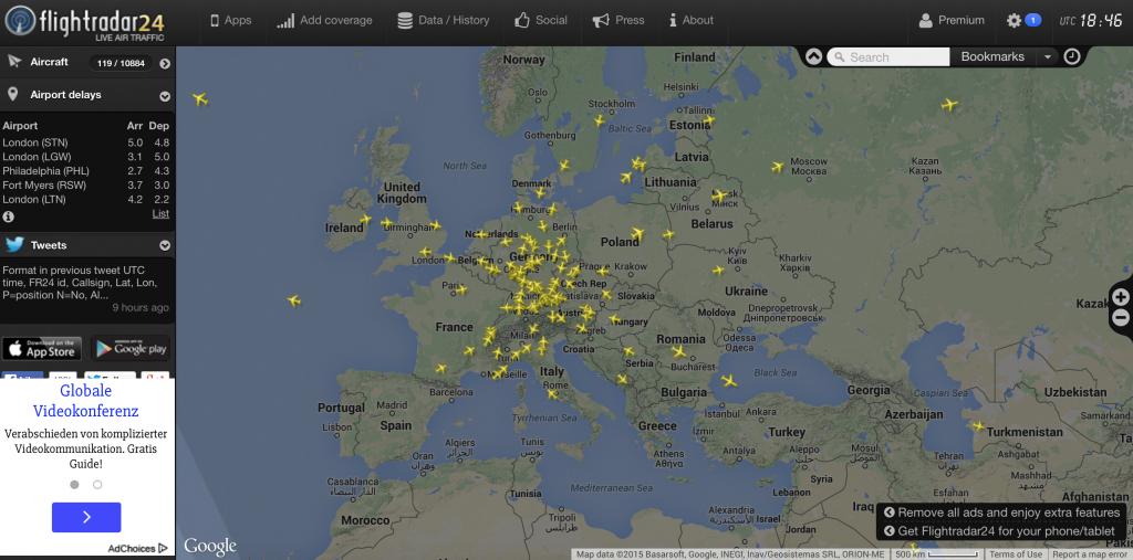 Lufthansa-Maschinen über Europa (Quelle: Flightradar.com)