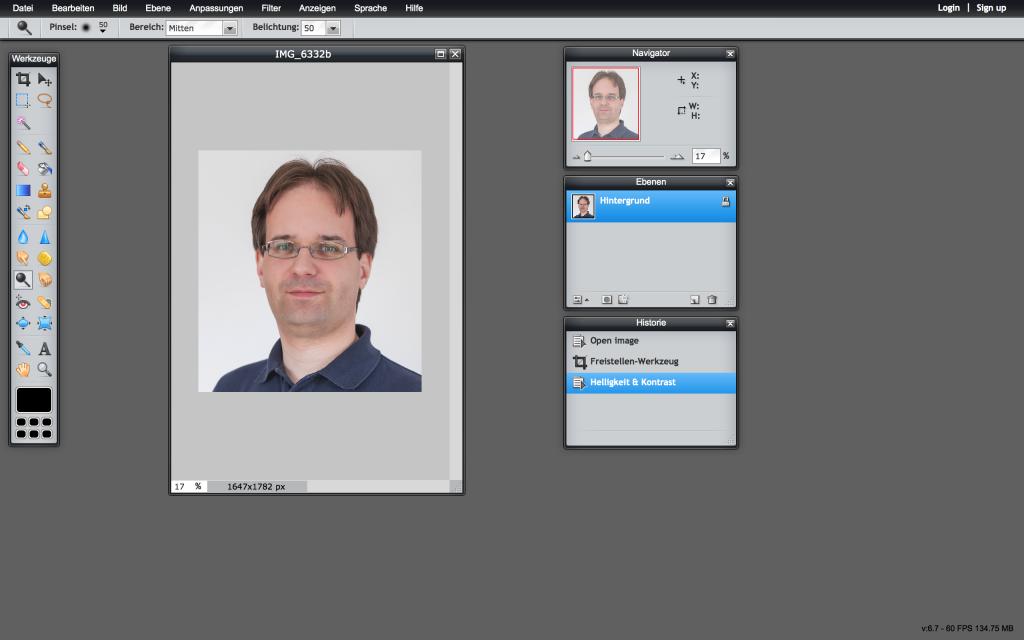 Die Pixlr Web App läuft im Browser und damit ohne lokale Installation (Foto: Screenshot)