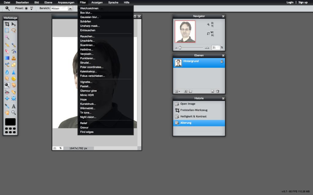 Pixlr Editor: Viele Menüpunkte kennt man aus anderen Programmen (Foto: Screenshot)
