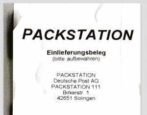 Einlieferungsbeleg der Packstation - eingescannt mit Scannable