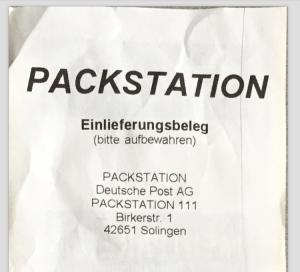 Einlieferungsbeleg der Packstation - eingescannt mit Scanbot.io
