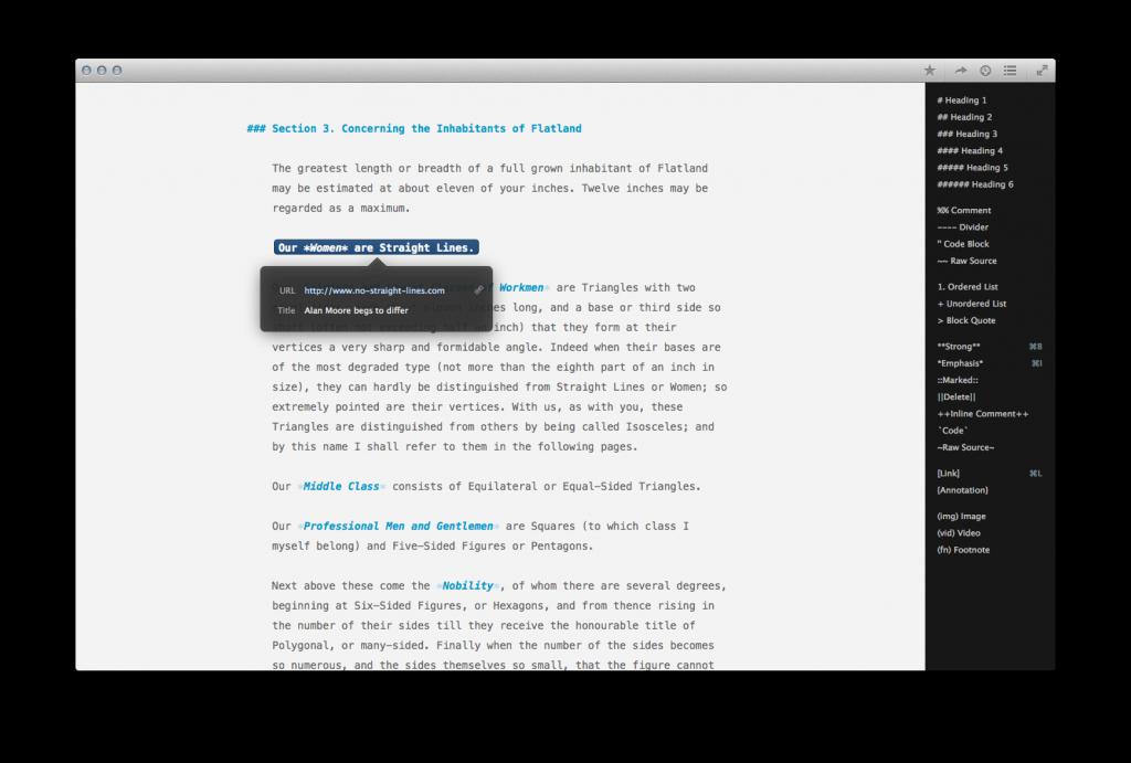 Wem die Markdown-Befehle zu kompliziert sind, blendet die Formatierungsspalte rechts ein (Screenshot: Ulysses)
