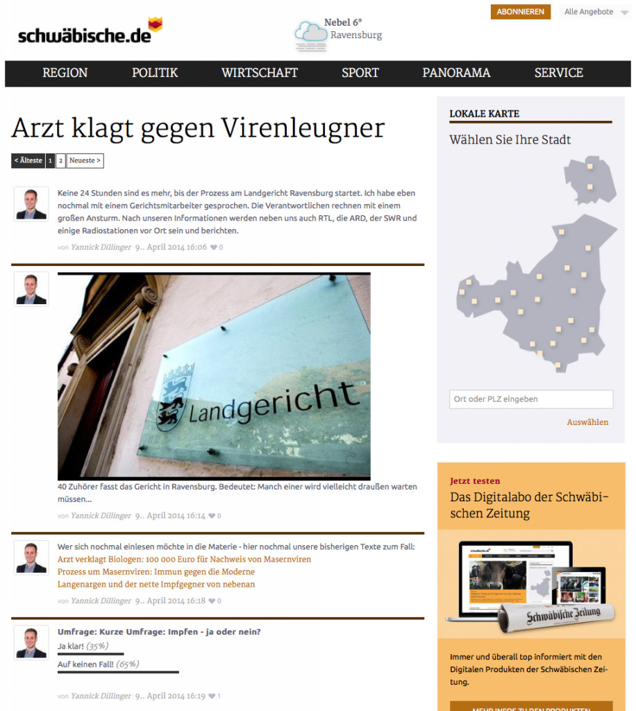 LiveBlog zu einem Prozess in Ravensburg (Foto: Screenshot)