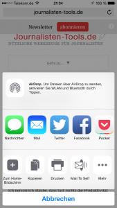 """Im Share-Menü des iPhone erscheint """"Mail to Self"""" in der zweiten Reihe. (Foto: Screenshot)"""
