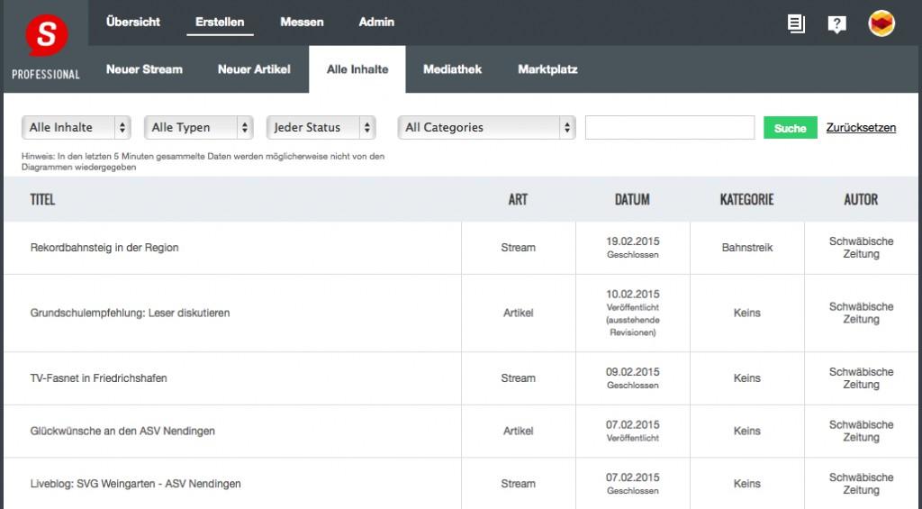 ScribbleLive: alle LiveBlogs in der Übersicht (Foto: Screenshot)