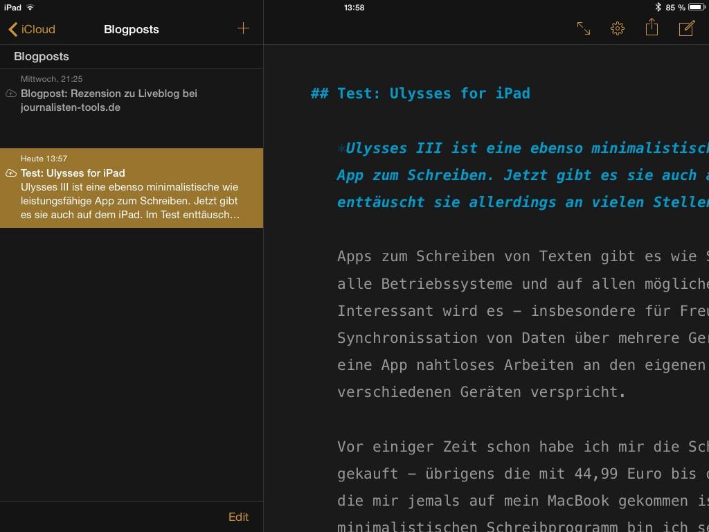 Zwischen den ein-, zwei- und dreispaltigen Ansichten mit Verzeichnisstruktur, Dateiliste und eigentlichem Editor kann man mit jeweils einem Wisch über den Bildschirm bequem wechseln - sehr gelungen. (Screenshot: Oliver Havlat)