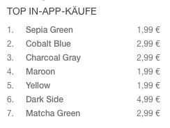 Preise für die iOS-Farbsets (Foto: Screenshot)