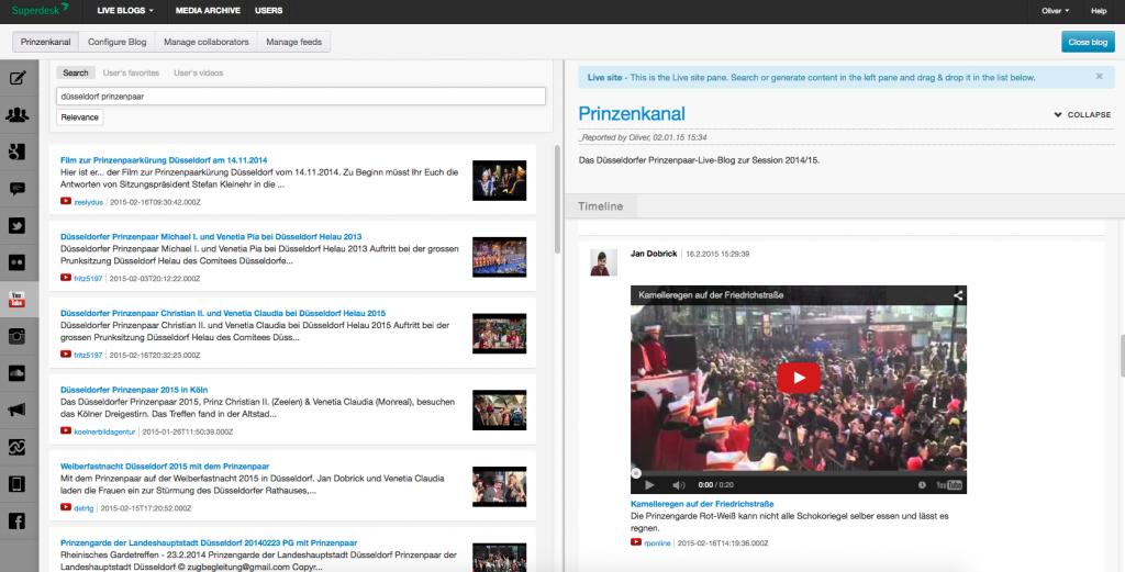 Das Backend von LiveBlog (Foto: Screenshot)