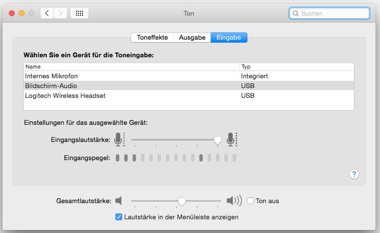 In den Systemeinstellungen des Mac kann man einstellen, welches Mikro und welche Lautsprecher der Mac nutzen kann. (Foto: Screenshot)