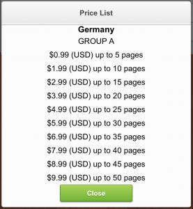 iFax Preisliste (Foto: Screenshot)