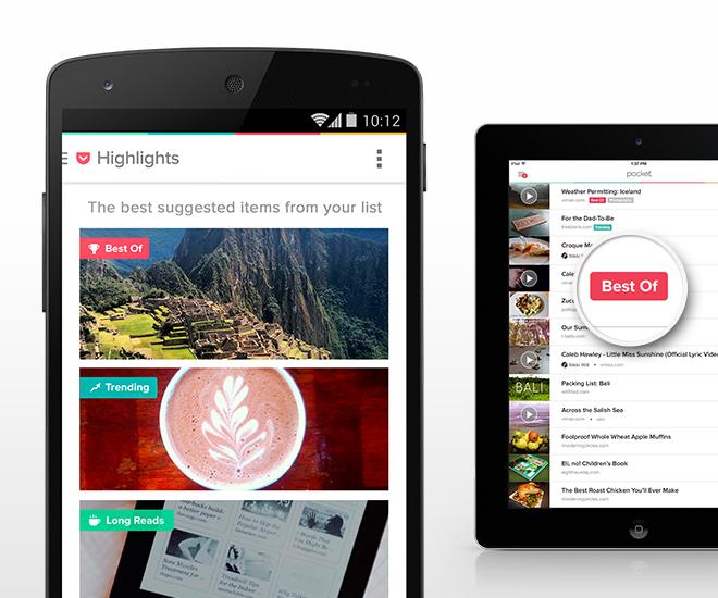 Die Highlights-Funktion zeigt besonders lesenswerte Beiträge an (Foto: Pocket)